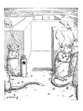 (mice having a smoking break outside their maze.) - New Yorker Cartoon Premium Giclee Print by Rob Esmay