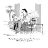 """Remember, son, these are your tax-free years. Make the most of them."" - New Yorker Cartoon Premium Giclee Print by Bernard Schoenbaum"