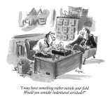 """I may have something rather outside your field.  Would you consider inden…"" - New Yorker Cartoon Premium Giclee Print by Lee Lorenz"