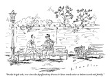 """On the bright side, ever since the layoff and my divorce it's been much e…"" - New Yorker Cartoon Premium Giclee Print by Barbara Smaller"