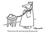 """""""Swim across the moat but keep the pizza dry."""" - New Yorker Cartoon Premium Giclee Print by Charles Barsotti"""