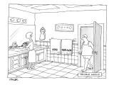 A man walks into a bathroom where his wife is putting toothpaste on a toot… - New Yorker Cartoon Premium Giclee Print by Jack Ziegler