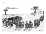 (In a cemetery, an impossible number of clown pallbearers come out of a he… - New Yorker Cartoon Premium Giclee Print by Zachary Kanin