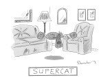 A cat with a cape is seen sleeping and levitating in a living room.  - New Yorker Cartoon Premium Giclee Print by Danny Shanahan