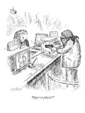 """Paper or plastic?"" - New Yorker Cartoon Premium Giclee Print by Edward Koren"