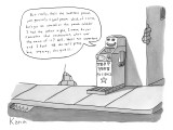 """A machine called """"test your patience"""" chatters about minutia.  """"...but rea… - New Yorker Cartoon Premium Giclee Print by Zachary Kanin"""