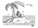 A man sits on a deserted island with two boxes: one labelled &quot;In&quot; and the  - New Yorker Cartoon Premium Giclee Print by Farley Katz