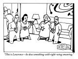 """This is Lawrence—he does something with right-wing smearing."" - New Yorker Cartoon Premium Giclee Print by Bruce Eric Kaplan"
