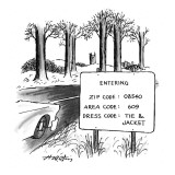 Sign by the side of the road that reads, 'ENTERING  ZIP CODE: 08540; AREA … - New Yorker Cartoon Premium Giclee Print by Henry Martin