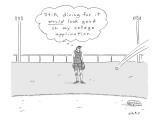 """A girl in a baseball field thinks to herself, """"Still, diving for it would … - New Yorker Cartoon Premium Giclee Print by Kim Warp"""