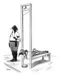 A court jester is awaiting the guillotine and a pie sits where his head wi… - New Yorker Cartoon Premium Giclee Print by Tom Cheney