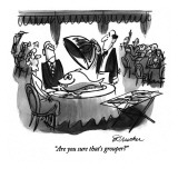 """Are you sure that's grouper?"" - New Yorker Cartoon Premium Giclee Print by Boris Drucker"