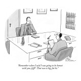 """Remember when I said I was going to be honest with you, Jeff? That was a …"" - New Yorker Cartoon Premium Giclee Print by Leo Cullum"