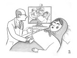 A doctor is seen giving an sonogram to a Russian doll, and the scene is re… - New Yorker Cartoon Premium Giclee Print by Paul Noth