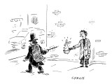 A magician points his wand at a beggar's hat, which is intended for money.… - New Yorker Cartoon Premium Giclee Print by David Sipress