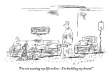"""I'm not wasting my life online—I'm building my brand."" - New Yorker Cartoon Premium Giclee Print by Barbara Smaller"