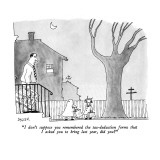 """I don't suppose you remembered the tax-deduction forms that I asked you t…"" - New Yorker Cartoon Premium Giclee Print by Jack Ziegler"