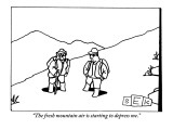 """The fresh mountain air is starting to depress me."" - New Yorker Cartoon Premium Giclee Print by Bruce Eric Kaplan"