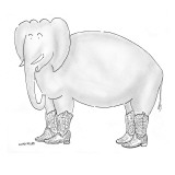 Elephant wearing cowboy boots. - New Yorker Cartoon Premium Giclee Print by Robert Mankoff