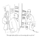 """The night-before pill for me, the morning-after one for her."" - New Yorker Cartoon Premium Giclee Print by Michael Shaw"