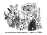 """I'm ready for people to start getting their coats. Commence with the puns."" - New Yorker Cartoon Premium Giclee Print by Pat Byrnes"