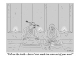 """Tell me the truth—have I ever made tea come out of your nose?"" - New Yorker Cartoon Premium Giclee Print by Kim Warp"