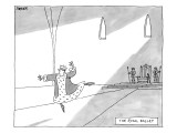 A monarch strikes a ballet dancing pose. Several feet behind him is his th… - New Yorker Cartoon Premium Giclee Print by Jack Ziegler