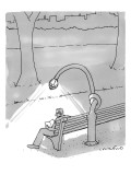 A man in a park reading a book while a street lamp bends over him. - New Yorker Cartoon Premium Giclee Print by Michael Crawford