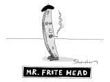A french fry drawn similarly to Mr. Potato Head, wearing a beret and smoki - New Yorker Cartoon Premium Giclee Print by Danny Shanahan