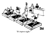 """It's improv night."" - New Yorker Cartoon Premium Giclee Print by Drew Dernavich"