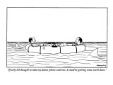 """""""If only I'd thought to take my damn phone with me, I could be getting som…"""" - New Yorker Cartoon Premium Giclee Print by Alex Gregory"""