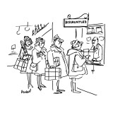 "People in store lined up in front of window with sign ""Disgruntled"". - New Yorker Cartoon Premium Giclee Print by Frank Modell"