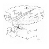Mother sleeps with her baby and dreams of sheep jumping over fences with t… - New Yorker Cartoon Premium Giclee Print by Saul Steinberg