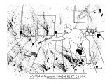 """JACKSON POLLOCK SIGNS A RENT CHEQUE"" - New Yorker Cartoon Premium Giclee Print by Michael Crawford"