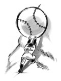 A Mets player pushes a giant baseball up a mountain.  - New Yorker Cartoon Premium Giclee Print by Lee Lorenz