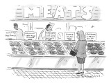 A woman surveys different kinds of meat at a supermarket or butcher's shop… - New Yorker Cartoon Premium Giclee Print by Danny Shanahan