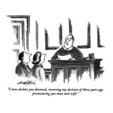 """I now declare you divorced, reversing my decision of three years ago pron…"" - New Yorker Cartoon Premium Giclee Print by Henry Martin"