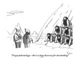 """""""Forget the paleontology—this is a huge discovery for cheerleading!"""" - New Yorker Cartoon Premium Giclee Print by Zachary Kanin"""