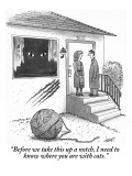 """""""Before we take this up a notch, I need to know where you are with cats."""" - New Yorker Cartoon Premium Giclee Print by Tom Cheney"""