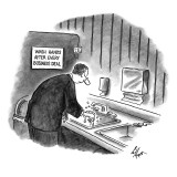 Businessman washing his hands in bathroom under a sign: 'Wash Hands After … - New Yorker Cartoon Premium Giclee Print by Frank Cotham