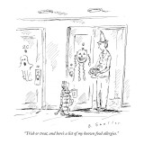"""Trick or treat, and here's a list of my known food allergies."" - New Yorker Cartoon Premium Giclee Print by Barbara Smaller"
