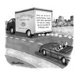 "Couple in a convertible drive behind a truck which has ""Does our driver's … - New Yorker Cartoon Premium Giclee Print by J.B. Handelsman"