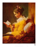 Young Girl Reading Láminas por Jean-Honoré Fragonard