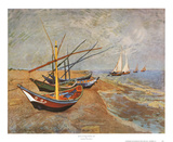 Barcas de pesca en la playa de Saints-Maries, c.1888 Láminas por Vincent van Gogh