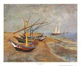 Fiskebåtar på stranden vid Saints-Maries, ca1888 Affischer av Vincent van Gogh