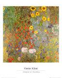 Wilde tuin met zonnebloemen Poster van Gustav Klimt