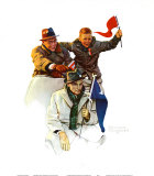 Cheering the Champs Print by Norman Rockwell