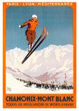 Chamonix – Mont Blanc (Schlittschuh) Poster von  Alo (Charles-Jean Hallo)
