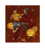 Halloween Grand Pals, Ghostly Gourds Poster by Norman Rockwell