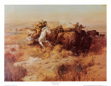 Indian Buffalo Hunt ポスター : チャールズ・マリオン・ラッセル